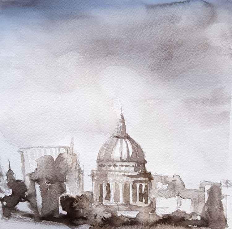 London Skyline Ink Drawing