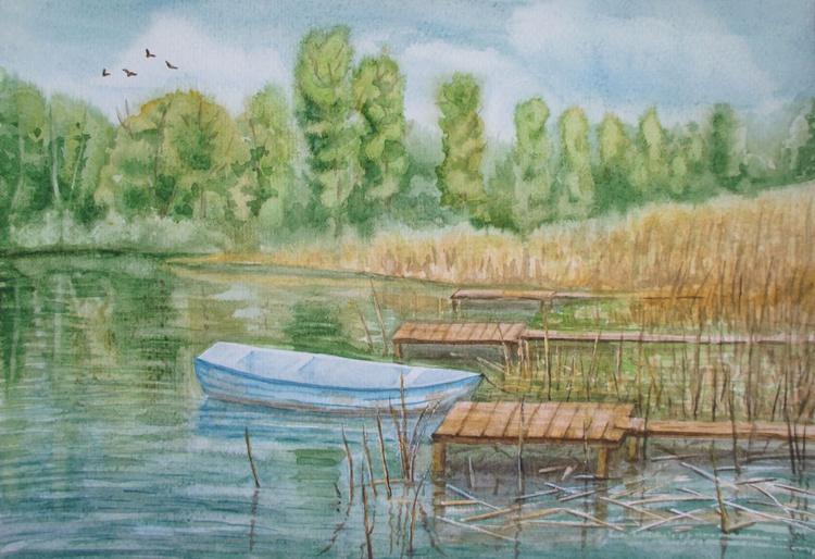 Forgotten boat - watercolor landscape - Image 0