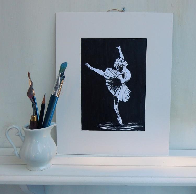 Original Drawing.Ballerina, dance, ballet. Black and White drawing. - Image 0