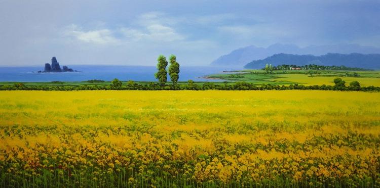 korea JeJu island Rice Field Original Oil Painting on Canvas Framed - Image 0