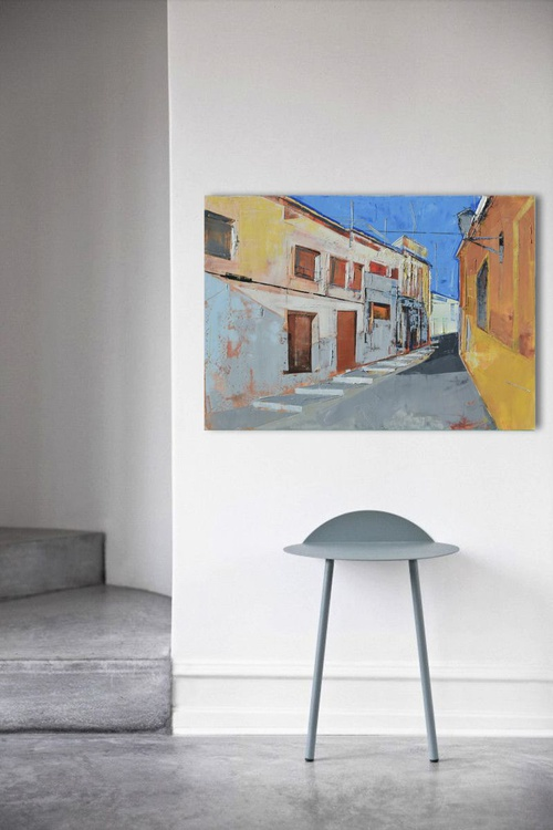 "Large canvas art 39.37/27.5(100/70cm). ""The perspective of the city IX"". - Image 0"