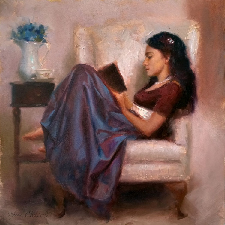 Jaidyn Reading a Book 2 - Portrait of Young Woman - Image 0