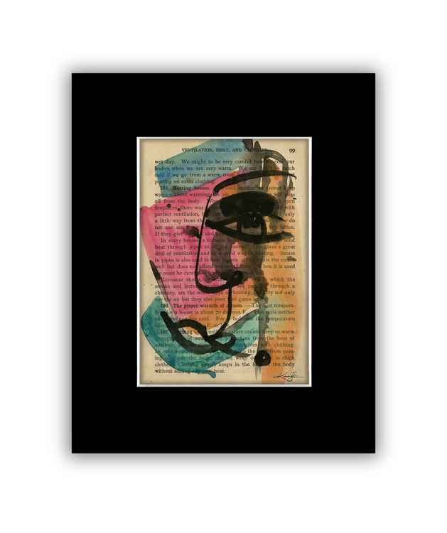 """I See 11"" on Antique Book Page - Abstract Watercolor Painting -"