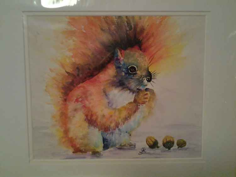 Squirrel with acorns -
