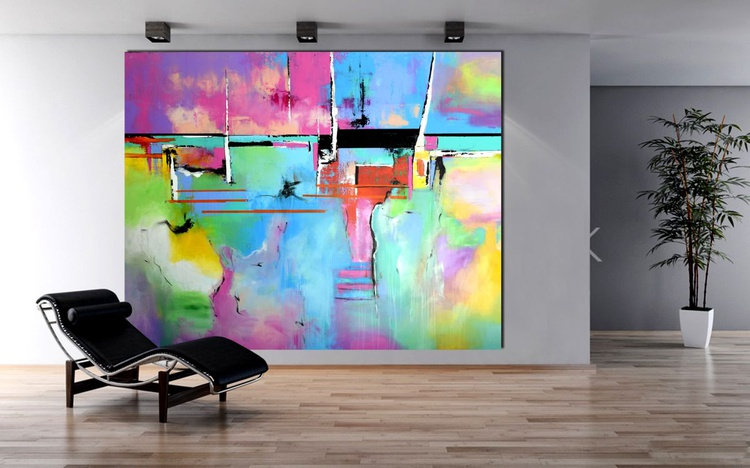 Set Me Free - Extra Large Painting On Canvas, abstract art, abstract canvas art, colorful art, oversize modern painting - Image 0