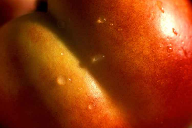 Nectarine with Water Droplets -