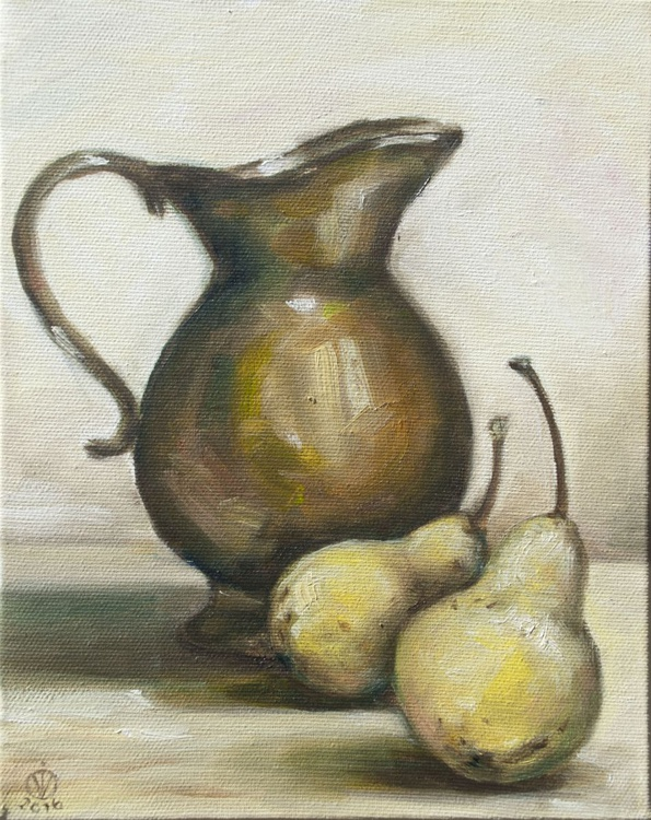 Little Jug (20x25cm) original oil painting study from life still life impressionistic ready to hang canvas gift kitchen decor - Image 0