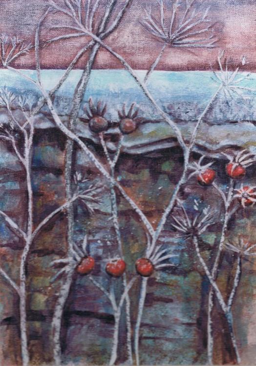 Frosted Stems & Rosehips (framed) - Image 0