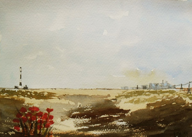 Dungeness Kent - An original Watercolour Painting of Britain's only desert. Lovely Gift Idea - Image 0