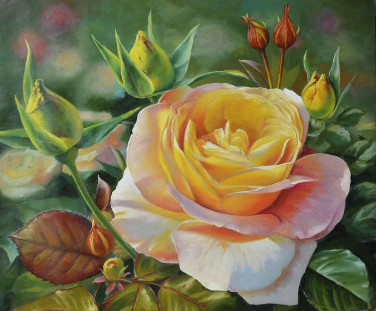 Yellow Rose, Original oil on canvas - Image 0