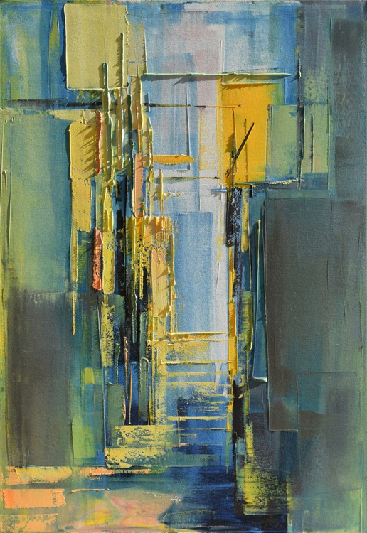 """""""Perspective of the city IV"""". Oil painting on canvas, 50/70 cm. - Image 0"""
