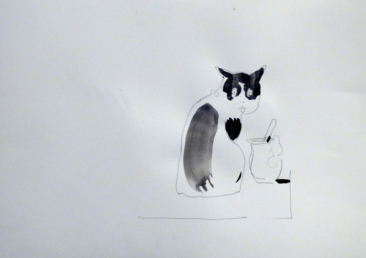 Whiskers in cream #1- Yoghurt Culture Art Project, 29x41 cm - Image 0