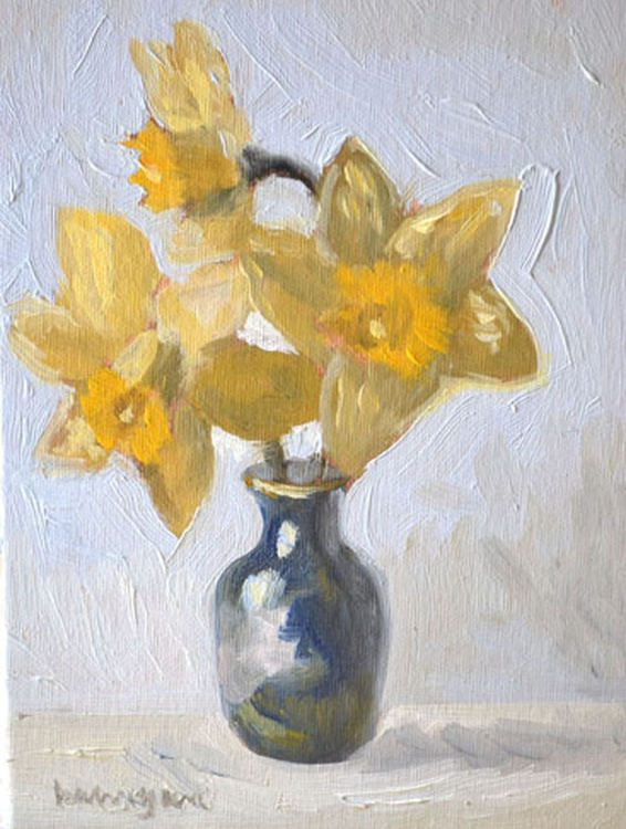 Three Daffodils in a Little Blue Vase - Image 0