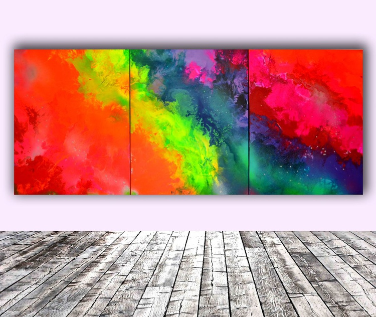 Into the Rainbow Big Painting XXL - Large Abstract, Huge, Gigantic Painting - Ready to Hang, Hotel Wall Decor - Image 0