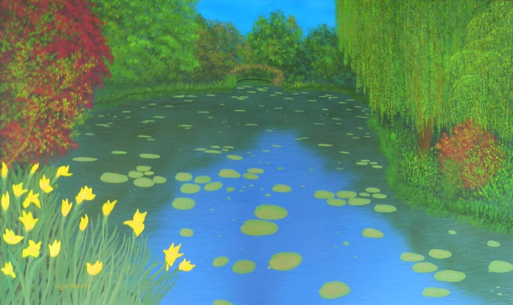 Monet´s Garden - Original, one of a kind, large landscape painting with discerning texture - Image 0