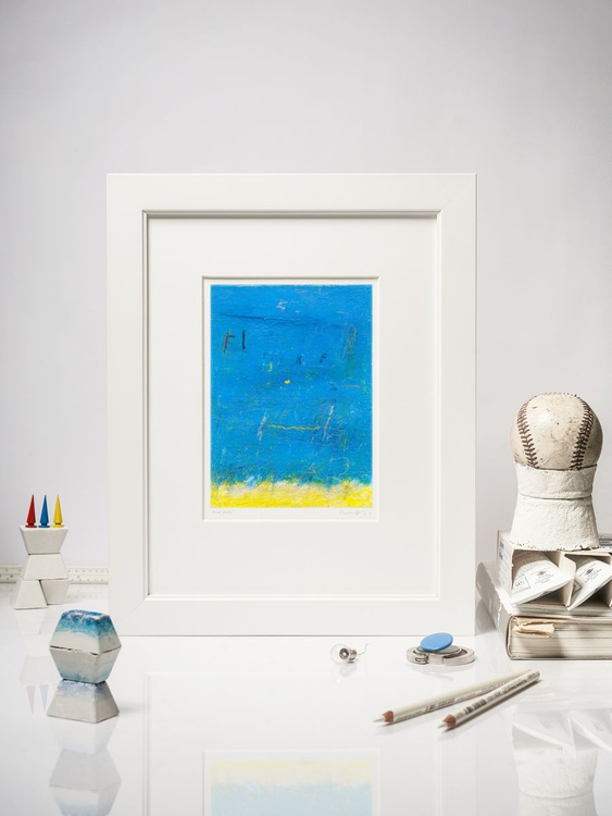 Blue Franchesca - Contemporary Abstract Expressionism -Mounted 23x30.5cm - Image 0