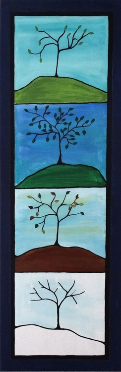 Four Seasons 12 x36 inch framed ready to hang and love - Image 0