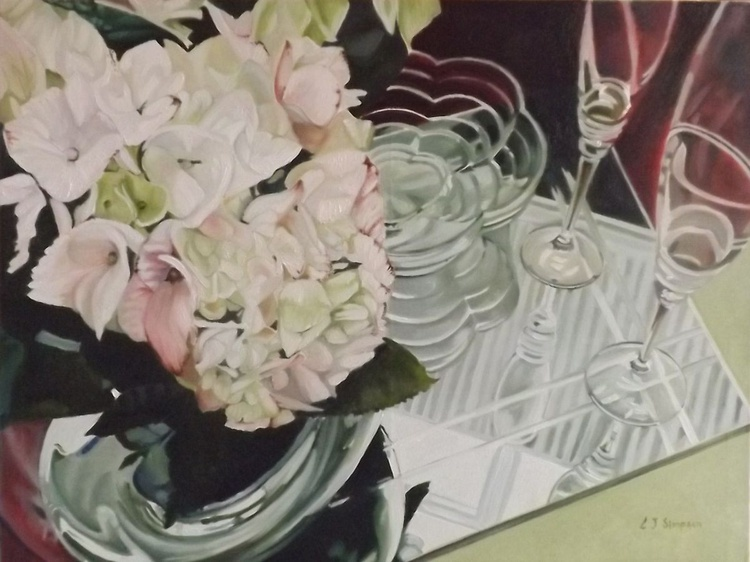 Glass Reflections with Hydrangeas 1 - Image 0