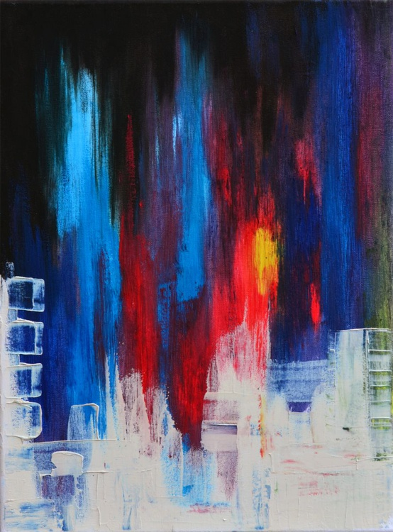 Abstract Waterfall - Oil Painting on Canvas - Image 0