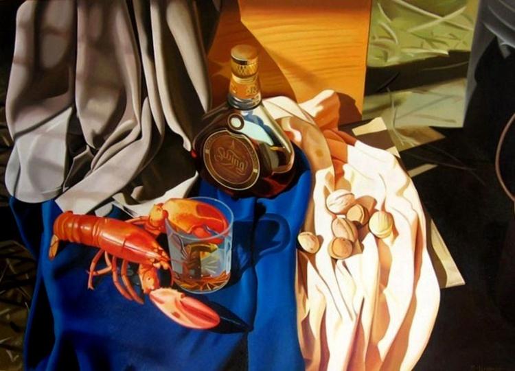 Still life with a lobster, Original canvas art - Image 0