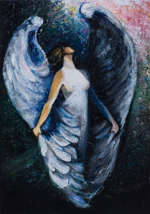 """Angel II""Original oil painting 70x100x2 cm. - Image 0"