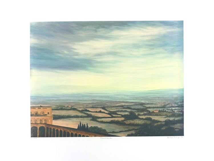 Toskana - Farbsiebdruck auf Büttenpapier 80 x 60 cm - Image 0