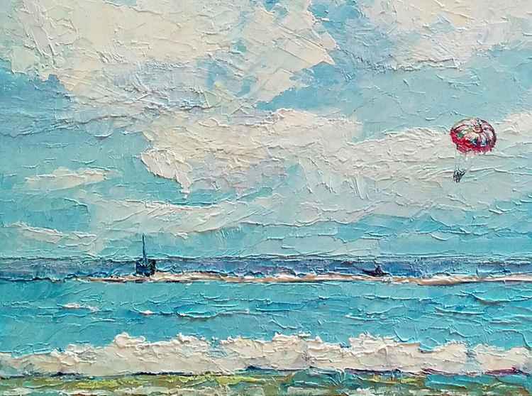 Sailing through the clouds, seascape