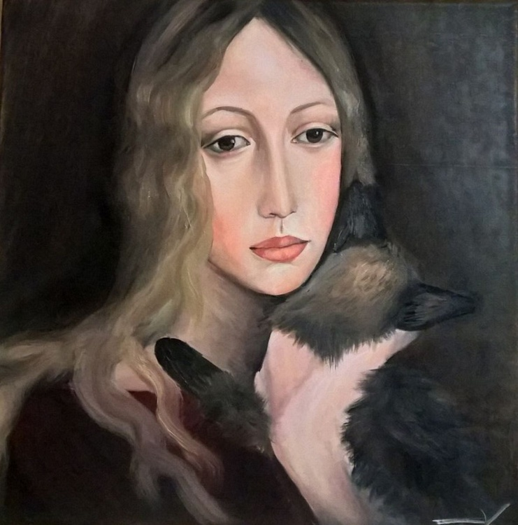 Woman with a Cat - Image 0