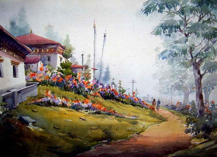 Beauty of Bhutan Village - Watercolor  Painting