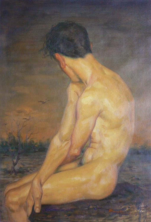 Original oil painting nude art - the northern goose flies south on linen#16-7-10-01 - Image 0