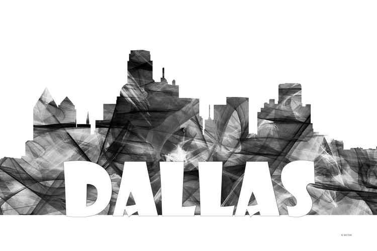 Dallas Texas Skyline B&W -