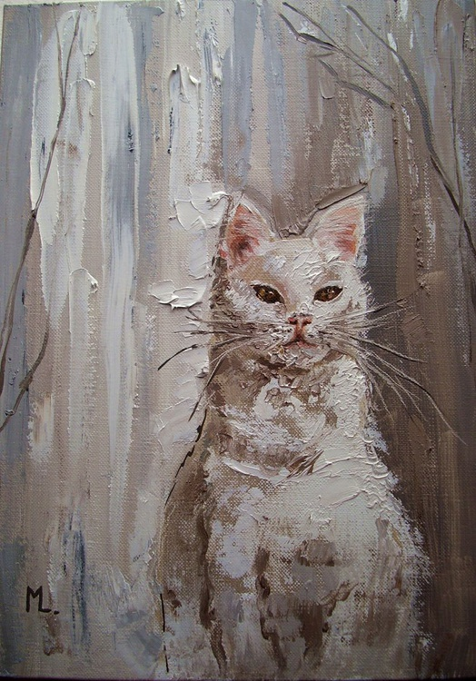 """ SIMPLE BEAUTY ... "" CAT original painting palette knife GIFT MODERN URBAN ART OFFICE ART DECOR HOME DECOR GIFT IDEA - Image 0"