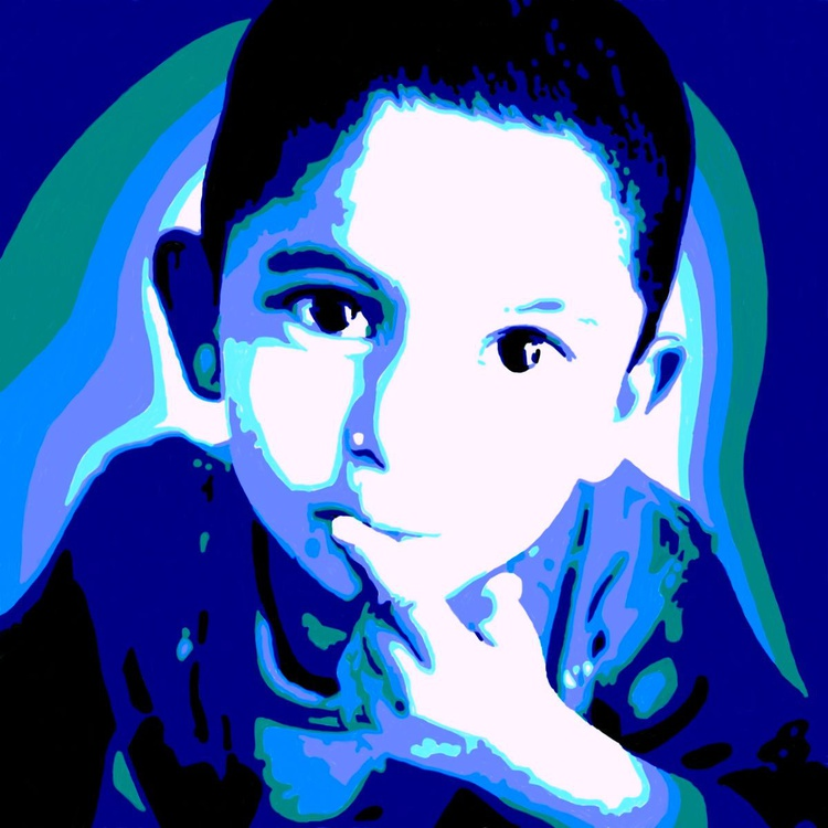 Blue Child 21 - Premium Poster Print - 21 x 21 cm - FREE SHIPPING - Image 0