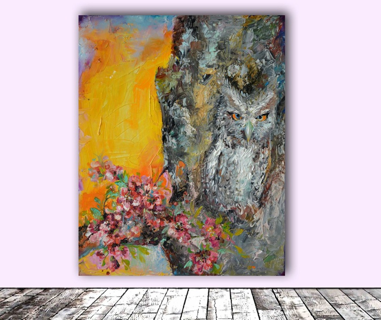 Camouflaged Owl and Spring Cherry Flowers - Modern Original Oil Painting, Ready to Hang - Image 0