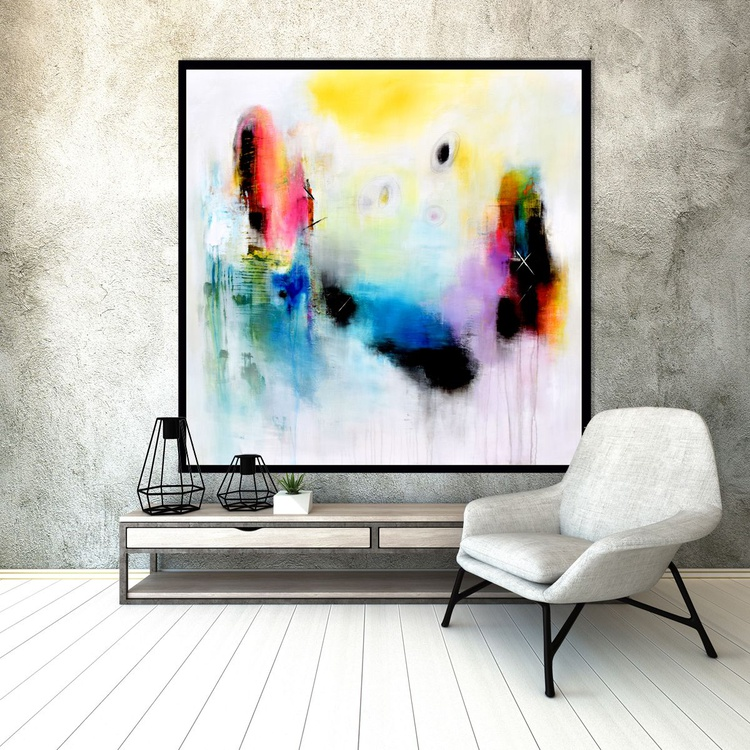 """""""The little things that whisper in my mind"""" Abstract painting, 48x48 abstract contemporary painting purple blue yellow - Image 0"""