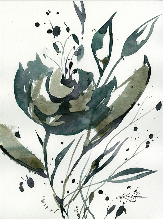 Organic Impressions No. 116 - Flower Watercolor Painting - Image 0