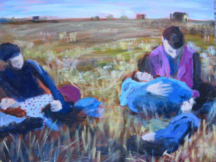 Family in the fields -