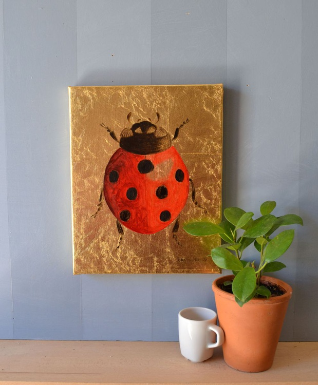 My Little Golden Ladybug Oil Painting on Lacquered Golden Leaf - Image 0