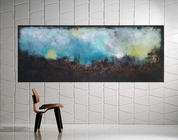 "59x 23,5""( 150x60cm), Patmos Island 2 Landscape,  blue painting , canvas art, home painting - Image 0"