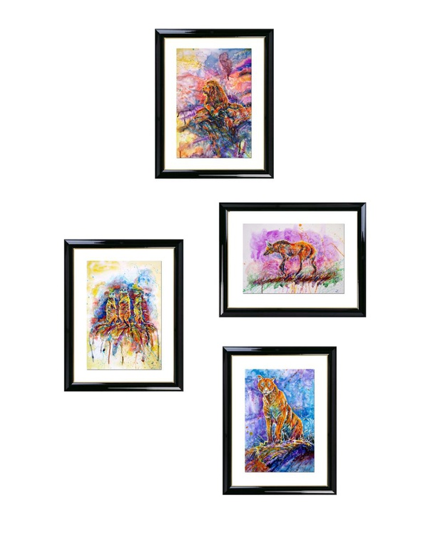 Colorful Wildlife Collection. Set of 4 paintings - Image 0