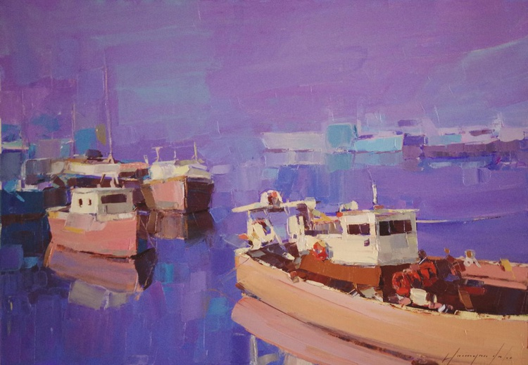 Commercial harbor  Original oil painting  Handmade artwork One of a kind Signed with Certificate of Authenticity - Image 0