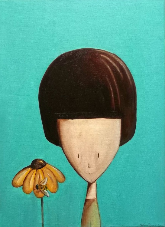 The girl and the bee - Image 0