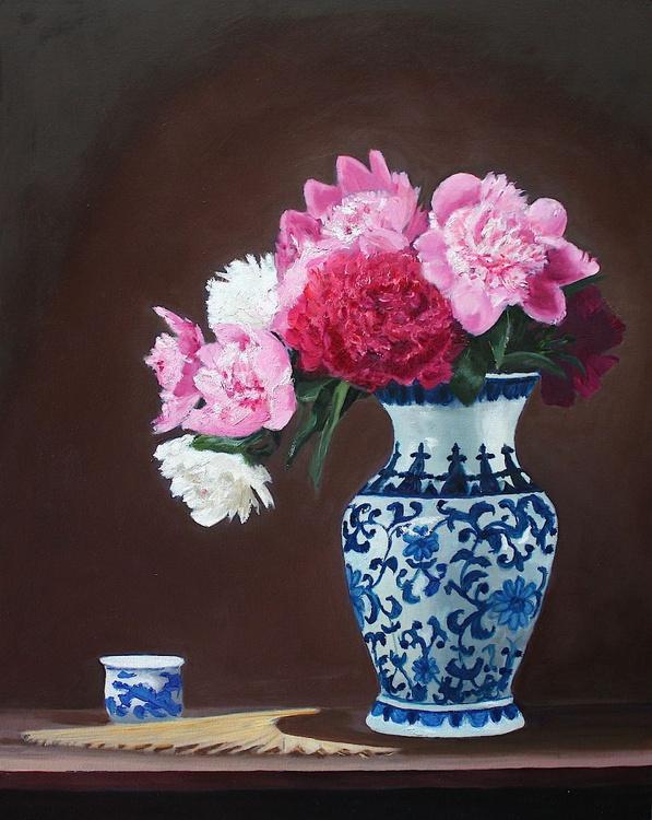 Peonies, Teacup, Fan & Chinese Vase - Image 0