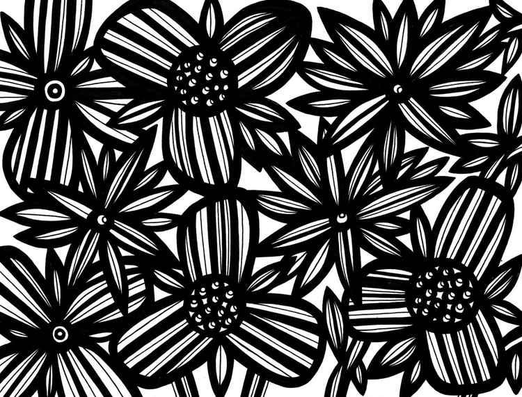 Pervasive Florals Original Drawing -