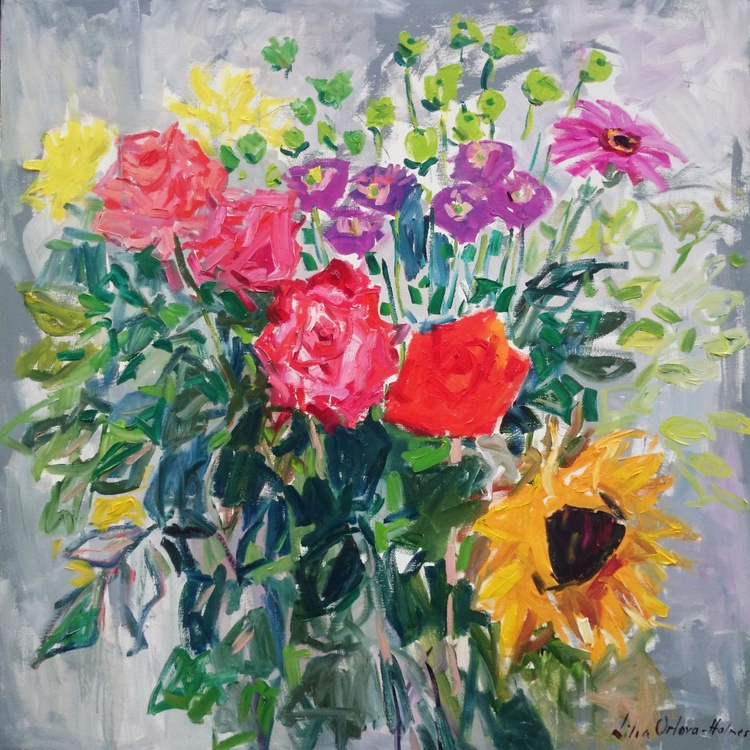 Roses, chrysanthemums and a sunflower. 100x100cm - Image 0