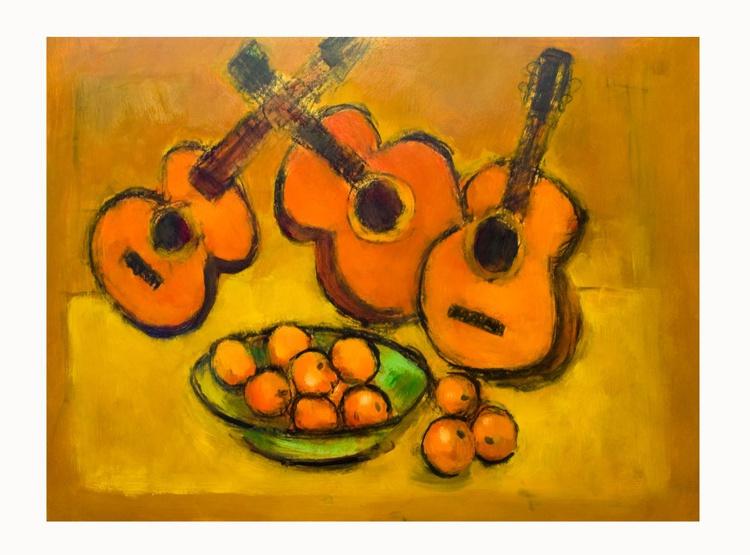 Three Guitars and Fruit - Image 0
