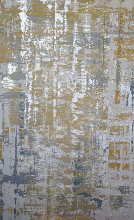 "Silver Waves, Abstract Yellow, White, Gold, Silver, Large Original Textured Art 48 x 30"" by Irena Orlov - Image 0"