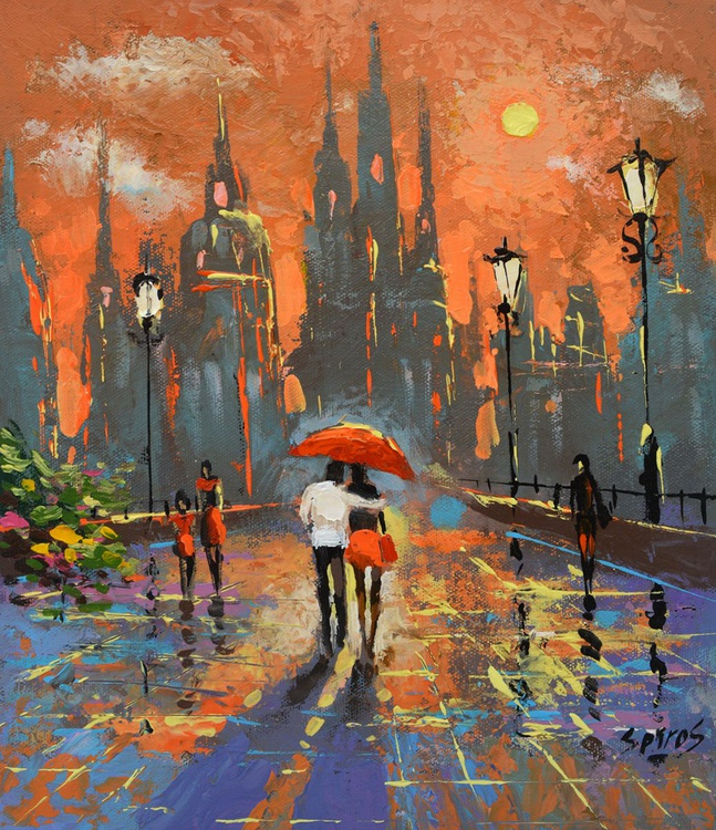 """Warm night  - Small size palette knife Painting, Size: 25cm x 30cm, (10""""x 12"""") - Image 0"""