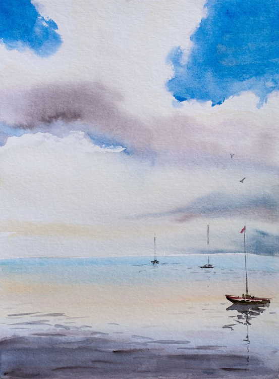 """""""on the water"""", original watercolour painting, 11.8""""x 15.7""""(30x40cm), ready to hang - Image 0"""