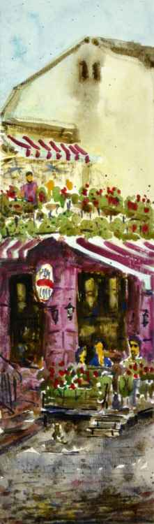 Red Bar Skadarlija Belgrade Serbia small watercolor painting -